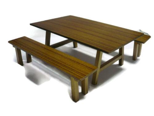 3 Pcs//Set  Dollhouse Miniature Furniture Wooden Long Outdoor Table Bench Garden