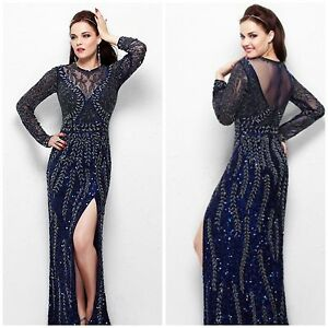 e14a262b46 NWT PRIMAVERA COUTURE LONG SLEEVE NAVY BEADED GOWN MSRP$456 AHTENTIC ...
