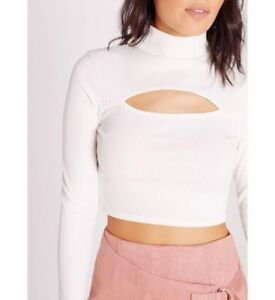 4e5796f8441 Brand New Missguided Ribbed Cut Out High Neck Crop Top, Uk Size 8   eBay