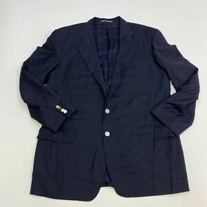 Ermenegildo-Zegna-Blazer-Jacket-Men-039-s-46R-Long-Sleeve-Navy-Two-Button-Front