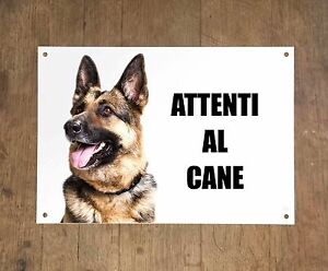 PASTORE-TEDESCO-attenti-al-cane-mod-4-TARGA-cartello-CANE-IN-METALLO