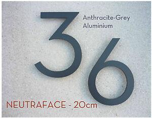 Neutraface Anthracite Aluminium Maison Numéro Paire 20cm Rapide