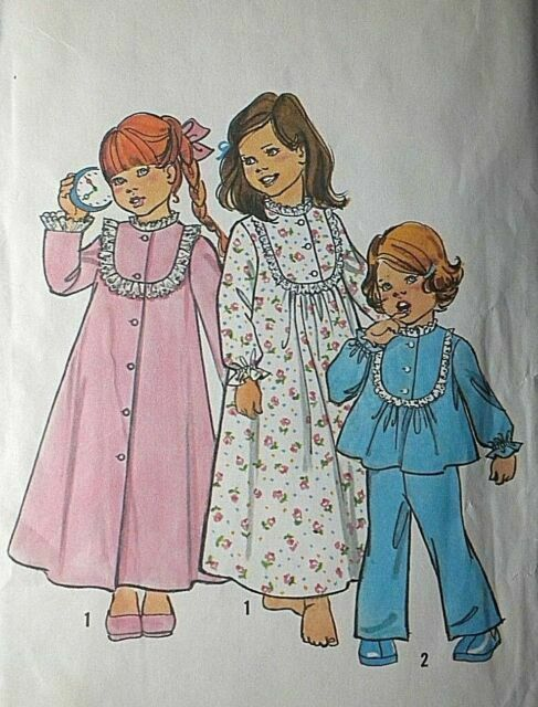 GIRLS FLOOR LENGTH NIGHTGOWN ROBE /& PAJAMAS PATTERN ½-3 1977 SIMPLICITY #8173