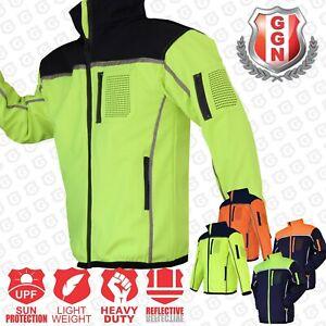 HI-VIS-Safety-Jacket-Soft-Shell-Windproof-Work-Wear-Reflective-bomber-flying