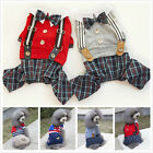 Boy Dog Pet Plaid braces Jumpsuit Pants Shirt Cat Puppy Spring/Summer Clothes