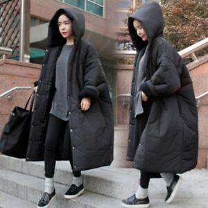 Korean-Fashion-Winter-Coat-Puffer-Loose-Fit-Hooded-Cotton-Padded-Women-039-s-Ske15