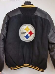 8af55a3f4 Image is loading NFL-Pittsburgh-Steelers-Leather-amp-Wool-Varsity-Jacket-