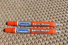 2 Dykem Brite Mark Industrial, All  Purpose Permenant Paint Markers (2 ORANGE)