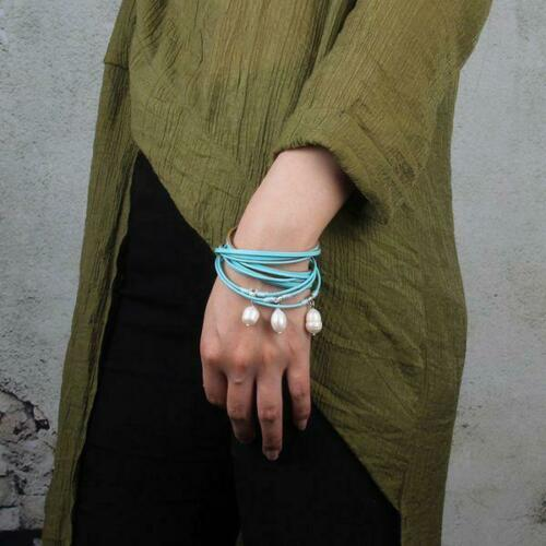 Women Retro Multilayered Leather Bracelet Big  Pearl Bangle With Magnetic Clasp