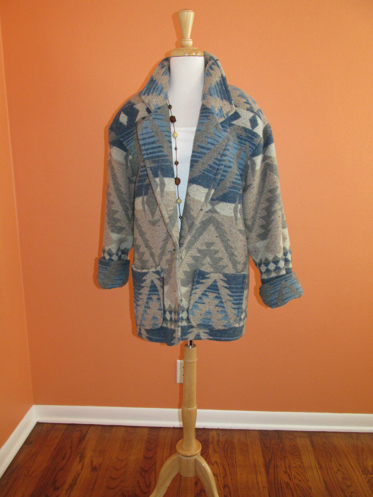 Vtg 80's Express French Country Size S Southwestern Indian Print Blanket Coat