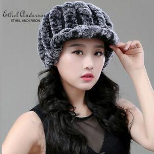 Brand-Women-Real-Rex-Rabbit-Fur-Hat-Cap-Knit-Handmade-Knitted-Beanie-Winter-Cool
