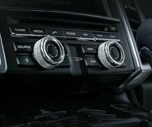 For Porsche 911 Cayenne Macan Alloy Silver Chrome AC Climate Control Ring Decor