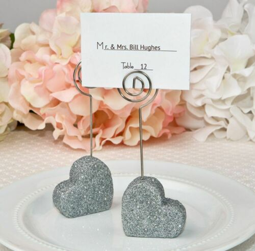 8 Silver Glitter Heart Place Card Holders Wedding Decor Party Favors MW70004
