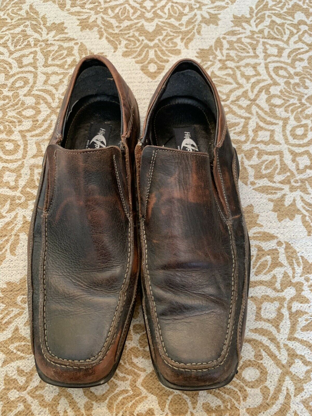 Hippopotamus Mens shoes 10 1 2 Brown Leather Upper&Lining Slip On Made in
