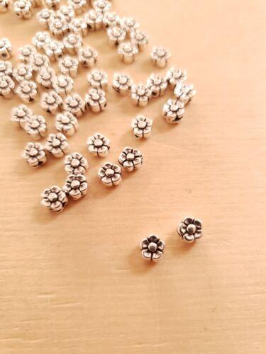 100 x flores metal perlas para bricolaje//joyas fabricación beads entre perlas