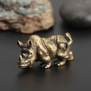 Chinese-Collection-Asian-Antique-Collectible-Brass-rhinoceros-Exquisite-statue