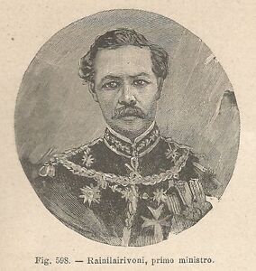 A2853 Rainilairivoni - Xilografia - Stampa Antica Del 1895 - Engraving