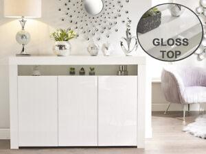 hot sale online 4c174 ca667 Details about Modern WHITE High Gloss Doors Top White Matt Cabinet Cupboard  Wide Sideboard NEW