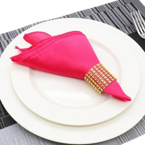 10pcs Plain Satin Fabric Napkins Square Wedding Pocket Hanky Handkerchief Party