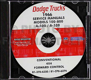 Details about 1966 Dodge Truck Shop Manual on CD Pickup Power Wagon on