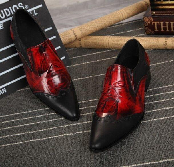 Men's Pointed Toes Slip On Fashion Formal Match color Cuban Heel Leather shoes