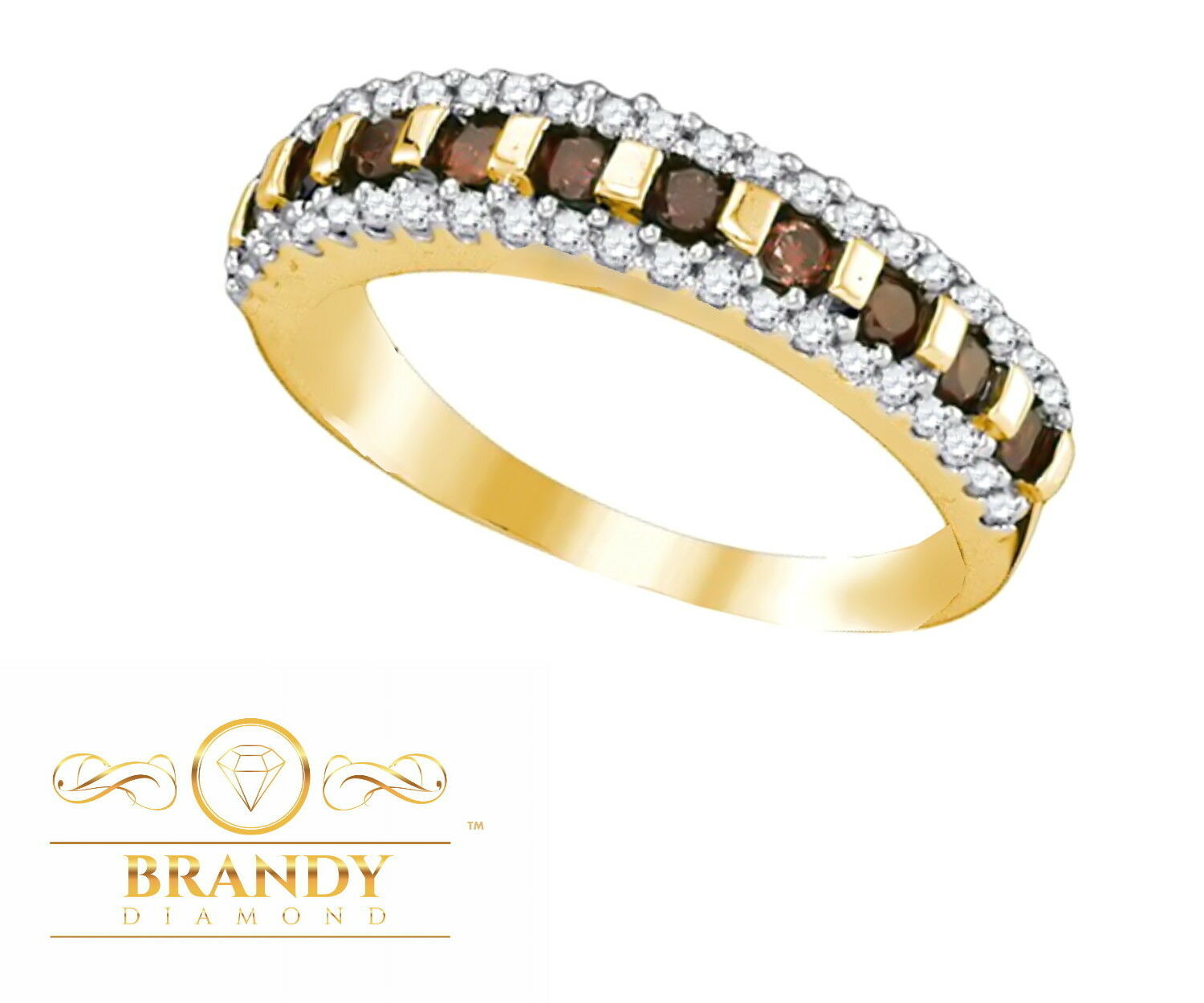 Brandy Diamond® Chocolate Brown 10K Yellow gold Channel Set Eternity Ring .52 Ct