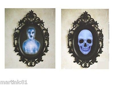 HALLOWEEN MIRROR CLING DECORATION REFLECTION HAUNTED GHOST LADY SCENE SET