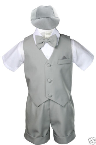 4T 3pc Formal Baby Toddler Teen Boy Dark Grey Gray Bow Tie Pants Suits S-14