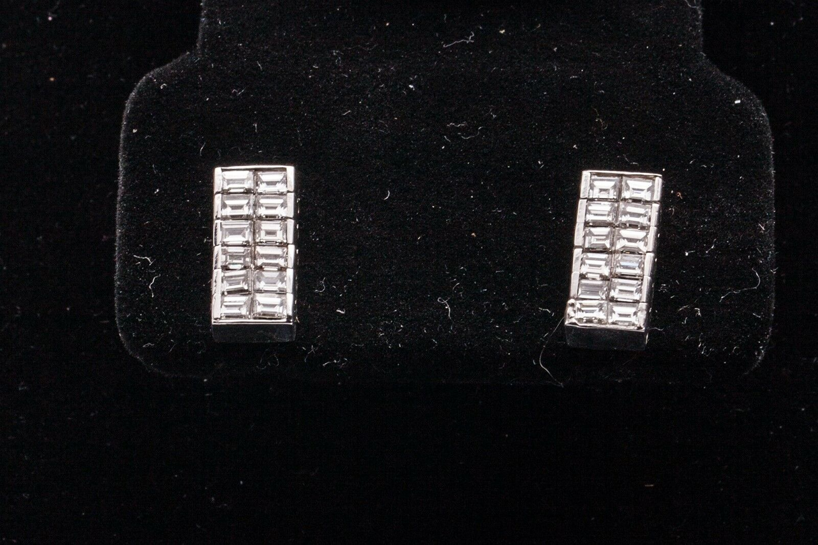 Designer  4000 2ct VS G Baguette Diamond 14k White gold Earrings