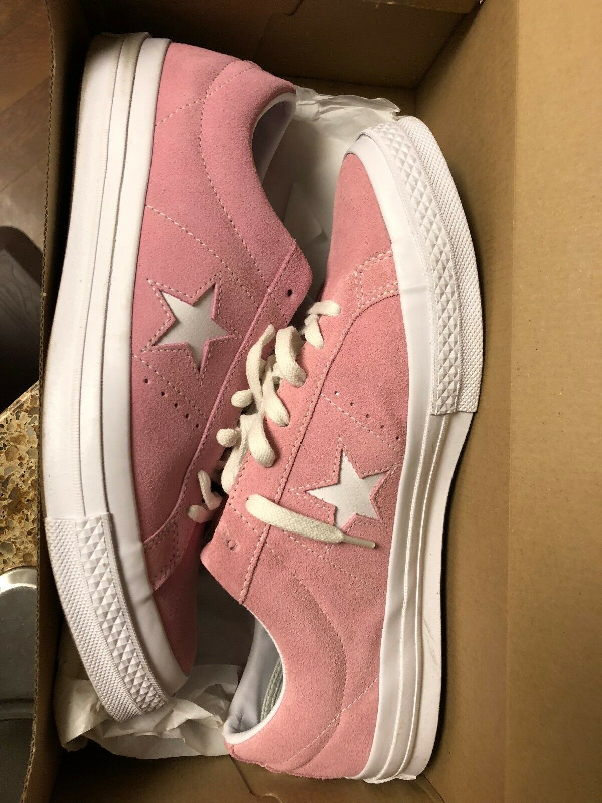 CONVERSE ONE STAR SUEDE OX Rosa Glow Weiß Mens US 10.5 chuck taylor cons