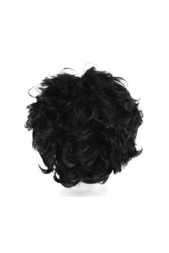 4/'/' Fluffy Curly Short Cut with Short Bangs Natural Black Cosplay Wig NEW
