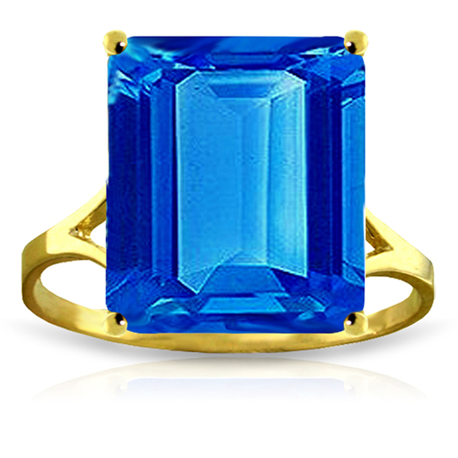 Brand New 7 Carat 14K Solid gold Ring Natural Octagon bluee Topaz