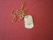HARLEY DAVIDSON YELLOW METAL DOG TAG & CHAIN. NEW