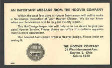 Ca 1945 PC DAYTON OH THE HOOVER CO SERVICE CALL