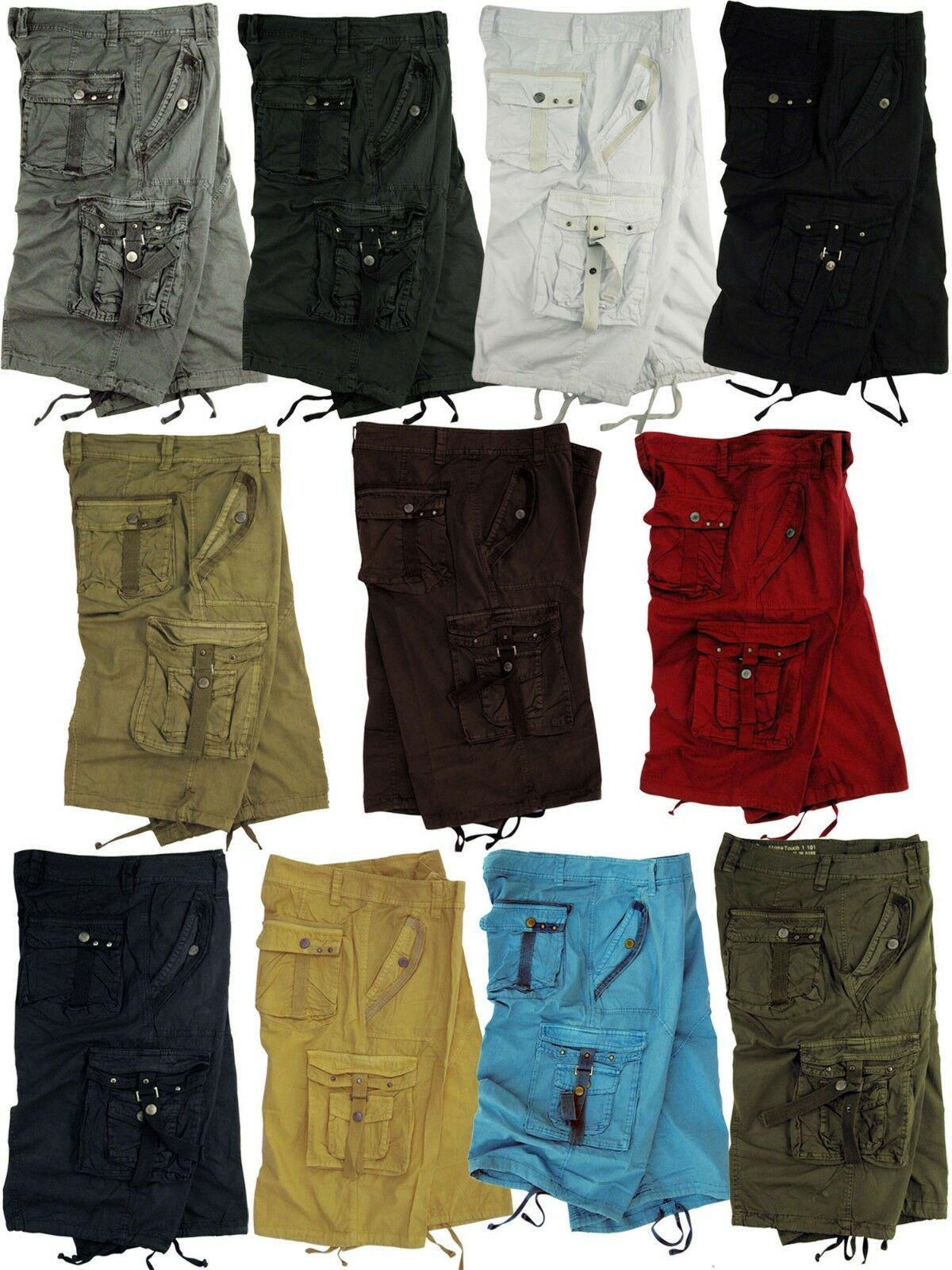 Mens 100% Cotton Solid color Military Cargo Shorts, Sizes 30 to 54  A8S