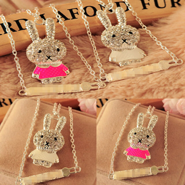 Fashion Girls Cute Rabbit Enamel Rhinestone Chain Pendant Necklace Jewelry Gift