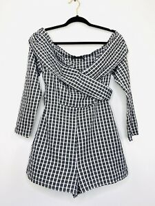 Pretty-Little-Thing-Womens-Playsuit-Romper-Check-Wide-Neck-Long-Sleeve-Size-12