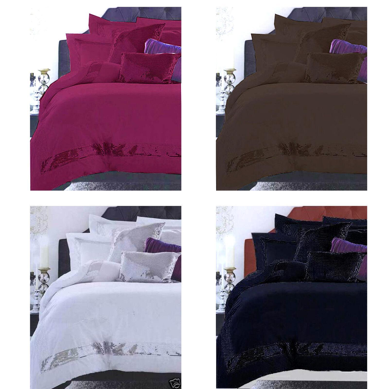 100% Cotton SEQUINS Quilt   Duvet Cover Set - SINGLE DOUBLE QUEEN KING Eurocases