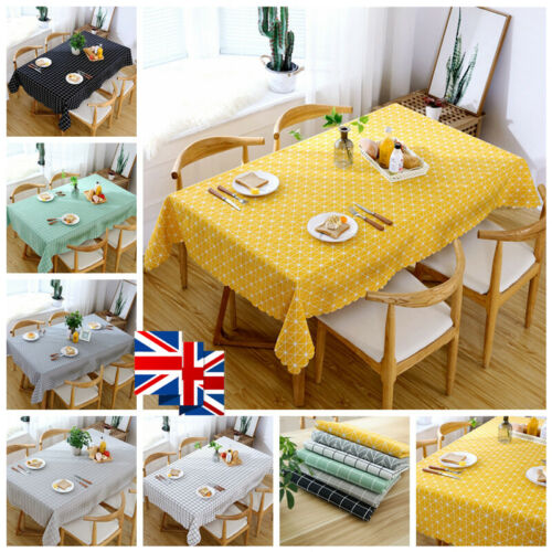 Plaid Check Table Cloth Cotton Tartan Dining Table Oilcloth Protector Cover UK
