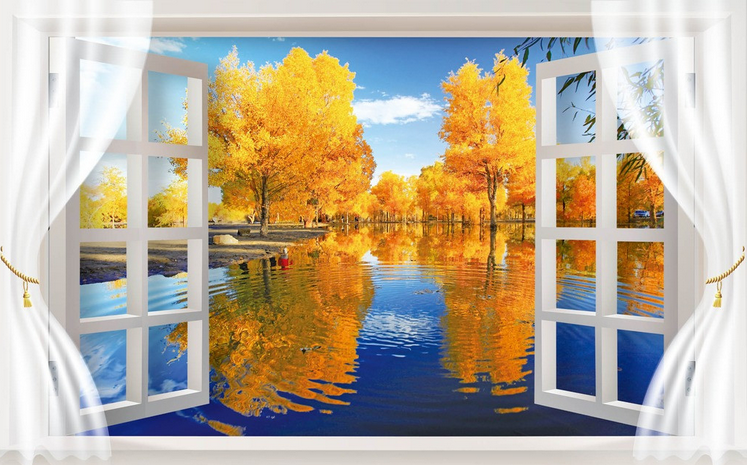 3D Autumn Leaves Lake Water Paper Wall Print Wall Decal Wall Deco Indoor Murals