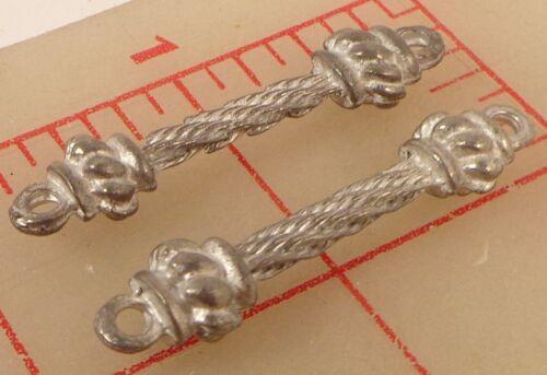 2 vintage silver color metal connectors pillar design 43mm x 9mm matte