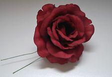 "6 X Burgundy Wedding Roses 3.5"" Flower Favor Wired Stem Silk Mis Quince Flower"