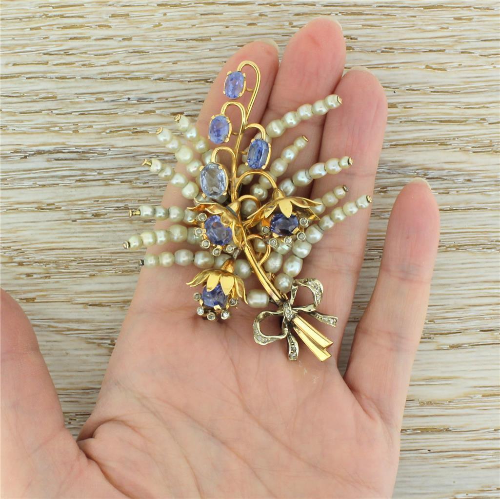 ART Deco Perla naturale Naturale Zaffiro & & & rosa spilla di diamanti taglio - 18k oro 4a0eb5