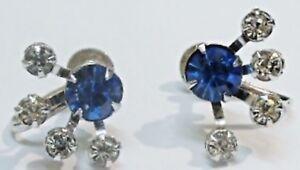 Boucles D'oreilles à Vis Bijou Vintage Coul. Argent Cristal Saphir Diamant 2513 Frissons Et Douleurs