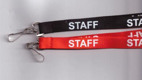 rot oder schwarz 10 x MITARBEITER Halsband Sicherheits Umhängebänder