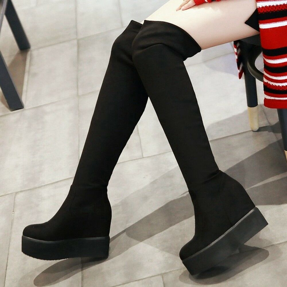 Women Platform Over the Knee Long Boots Suede High Hided Wedge Heel Winter shoes