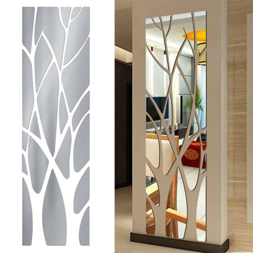 Modern 3D Mirror Tree Art Removable Wall Sticker Mural Decal DIY Home Room Decor