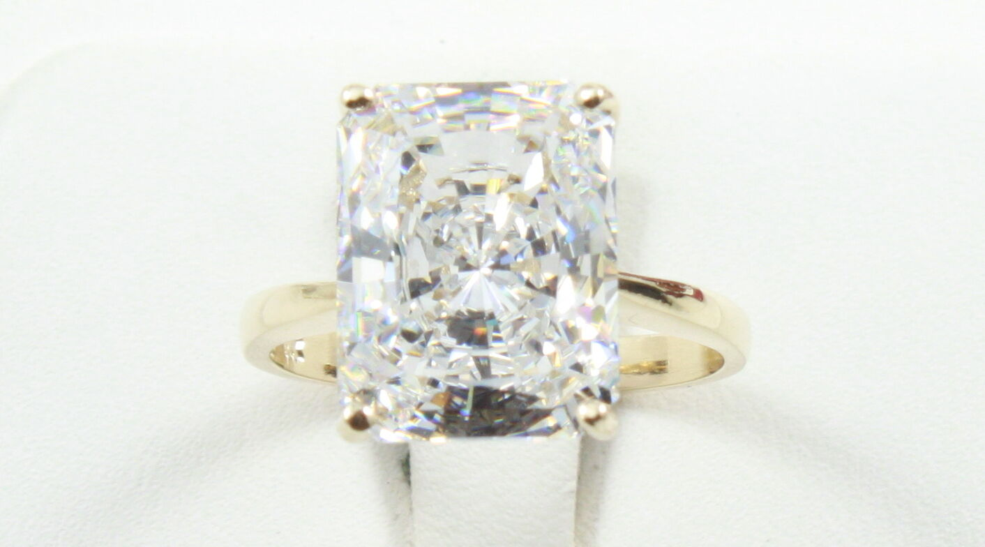 7.20CT Radiant Cut VVS1 Engagement Wedding Solitaire Ring 14K SOLID Yellow gold
