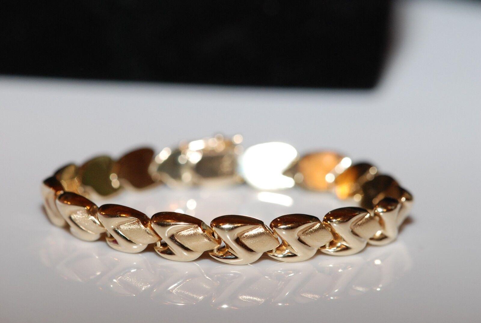 Brushed and polished link 14k Yellow gold 7  Bracelet