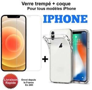 Coque iPhone 11 12 X XS Max XR 8 7 6S 5 11 Pro + Protection Verre trempé écran